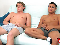 Two straight boys jerk off and 69 for cash.