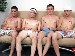 Four straight boys get ready for a gang bang done Broke Straight Boys style. Watch as they suck and start to fuck for cash